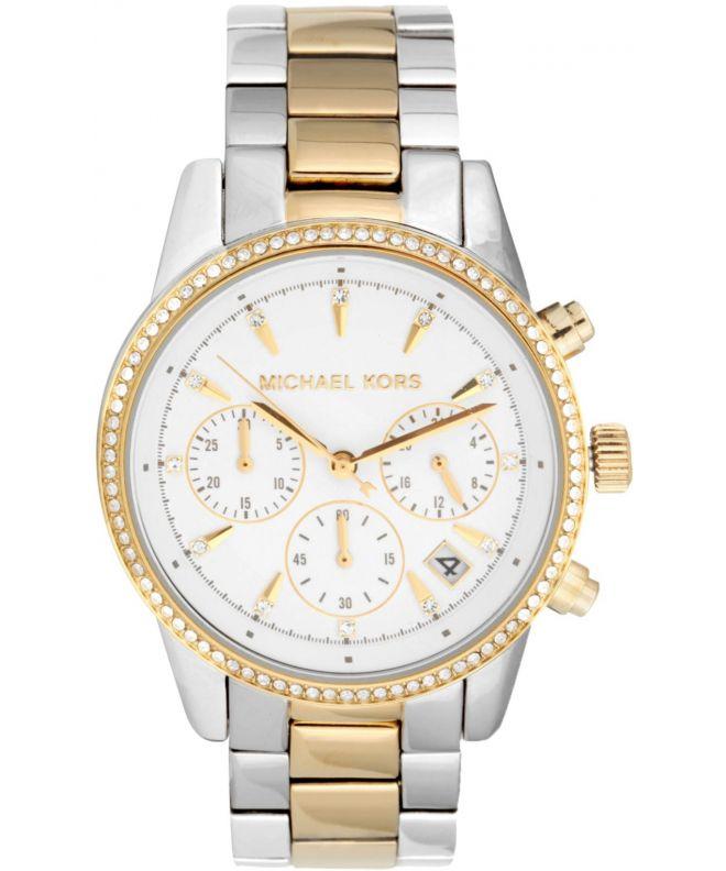 zegarek michael kors damski srebrno zloty