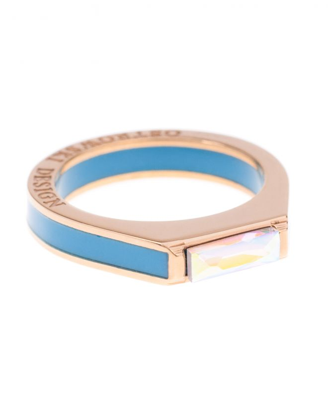 Pierścionek Ostrowski Design Classic Super Light Blue CLS-RLS-SW-GP-13-niebieski