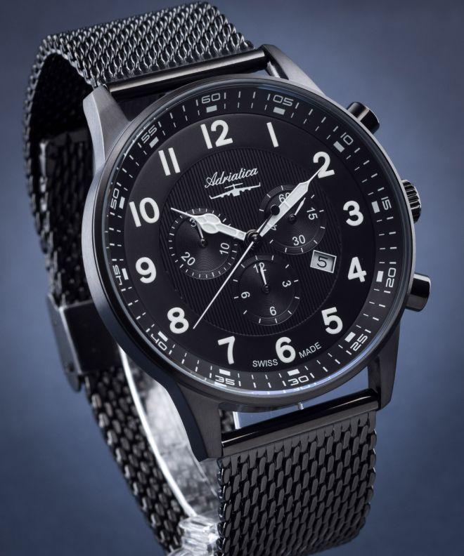 adriatica czarny.zegarek meski