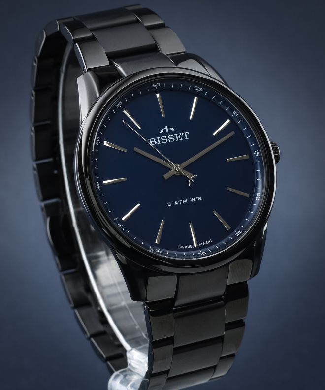czarny zegarek męski bisset