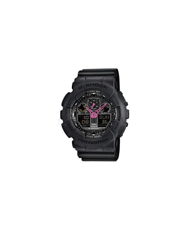 czarny zegarek z rozowymi wskazowkami kasjo