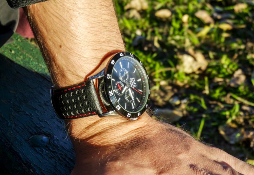 Zegarek męski Q&Q Leather CE02-512 zachód słońca