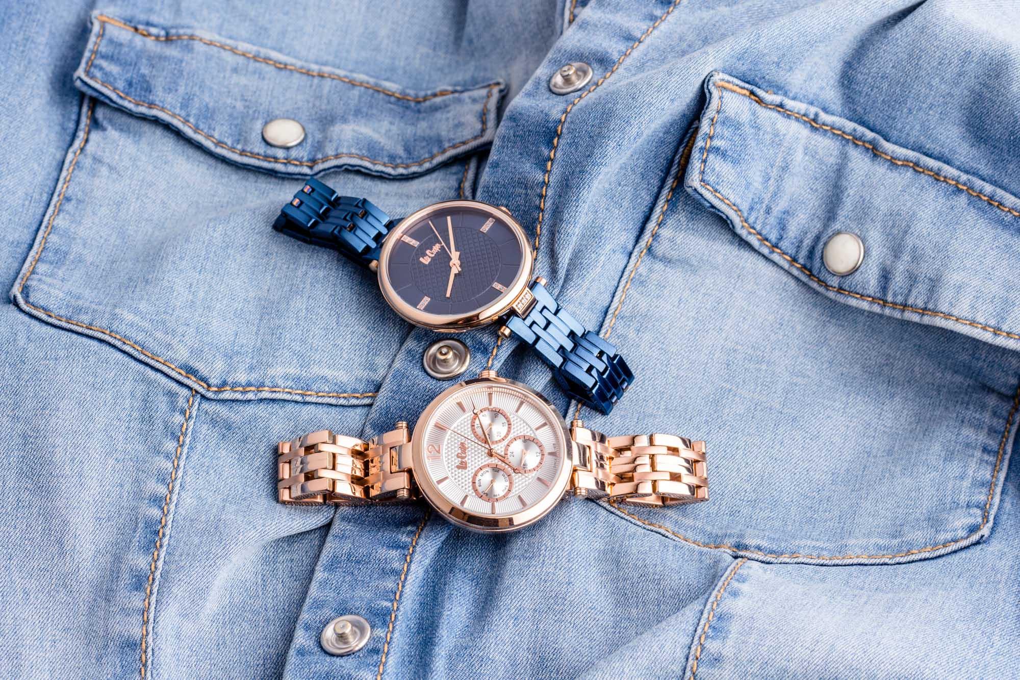 zegarki damskie Lee Cooper niebieski i złoty