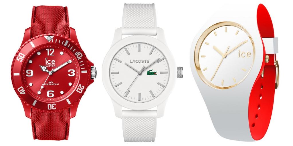 Zegarki biało-czerwone Ice Watch Lacoste