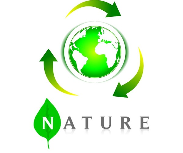 Logo recykling, ziemia, natura